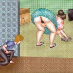 hijo espiando madre limpiando